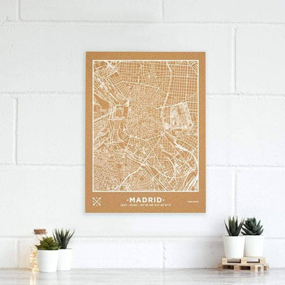 Woody Map Natural Madrid Maps misswood 60 x 45 cm Blanco Sin Marco