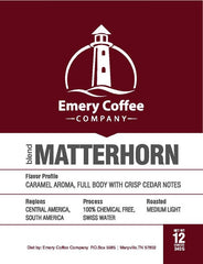 Matterhorn Decaf Blend - Emery Coffee