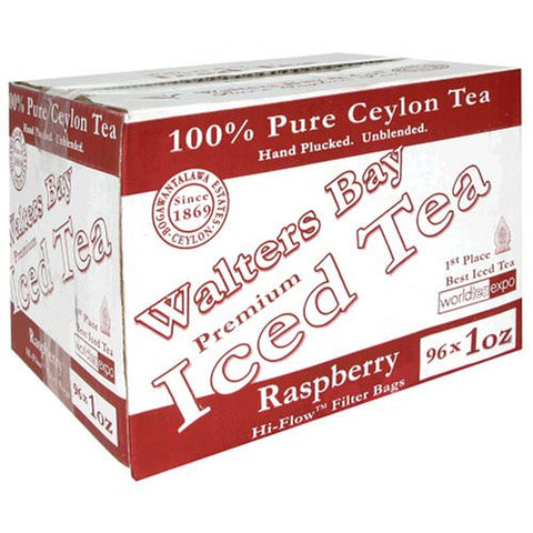 100% Pure Ceylon Gallon-sized Iced Tea Filter Packs - 96 Count Case - Raspberry Flavored