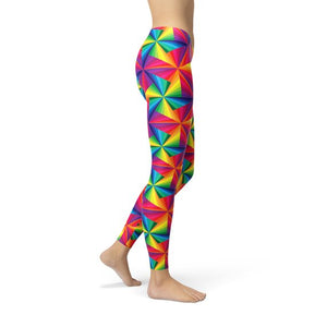 Womens Rainbow Pinwheel Leggings
