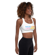 "Load image into Gallery viewer, ""More Love Less Hate"" Padded Sports Bra - ElectionWarehouse"