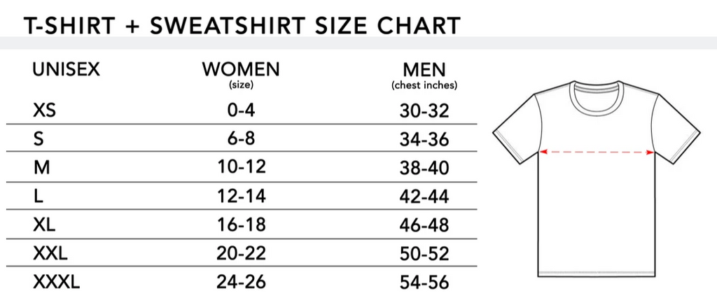 size guide for t-shirts and sweatshirts