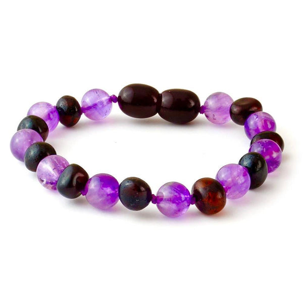 5.5 inch Baltic Amber Bracelet Polished Cherry Amethyst newborn Baby Toddler-Baltic Amber Teething Bracelet Anklet-Unique Baltic Amber