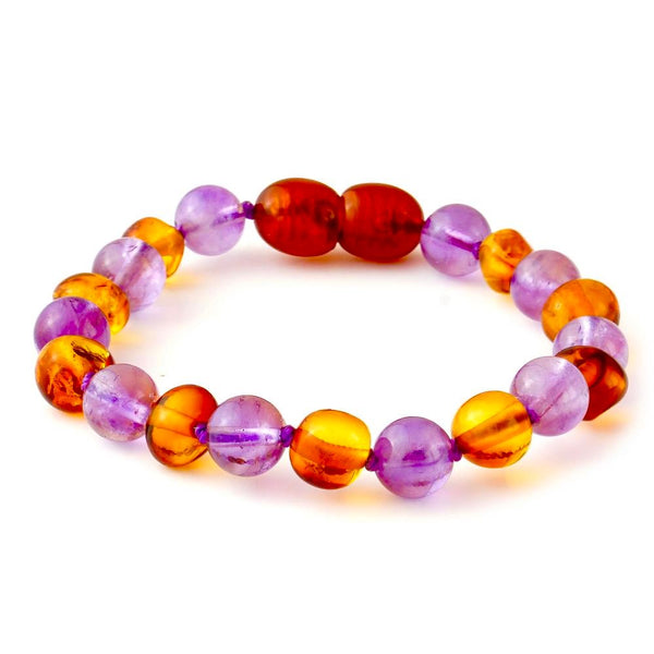 Amethyst Cognac Baltic Amber Polished newborn Baby Toddler-Baltic Amber Teething Bracelet Anklet-Unique Baltic Amber