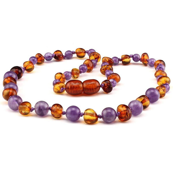 Anxiety Anger Polished Cognac Baltic Amber Amethyst 12.5-Baltic Amber Teething Necklace-Unique Baltic Amber