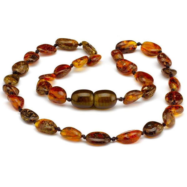 Amber Teething Necklace Polished Bean Green-Baltic Amber Teething Necklace-Unique Baltic Amber