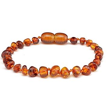 amber teething bracelet cognac polished