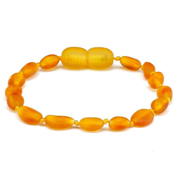 5.5 Inch Raw Unpolished Cognac Baltic Amber Bracelet Bean Big Kid, Child-Baltic Amber Teething Bracelet Anklet-Unique Baltic Amber