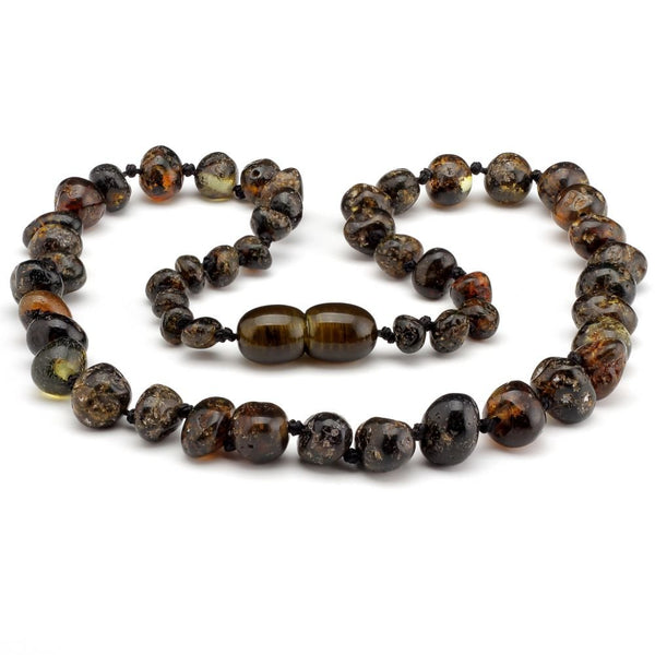 Polished Olive 12.5 inch Baltic Amber Teething Necklace-Baltic Amber Teething Necklace-Unique Baltic Amber