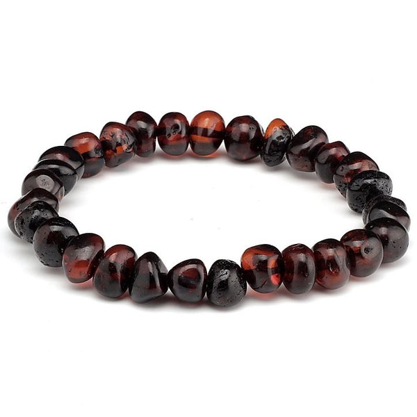 7.5 Inch Polished Black Cherry Baltic Amber Bracelet-Baltic Amber Teething Necklace-Unique Baltic Amber