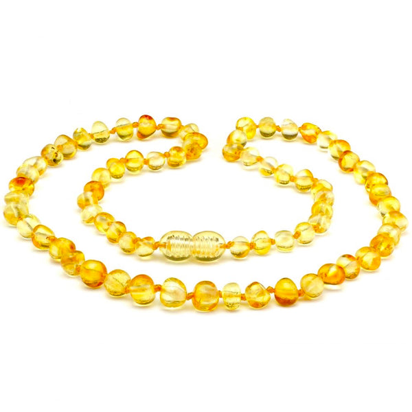 Polished Honey Baltic Amber Necklace for Big Kid, Child, or Adult-Baltic Amber Teething Necklace-Unique Baltic Amber