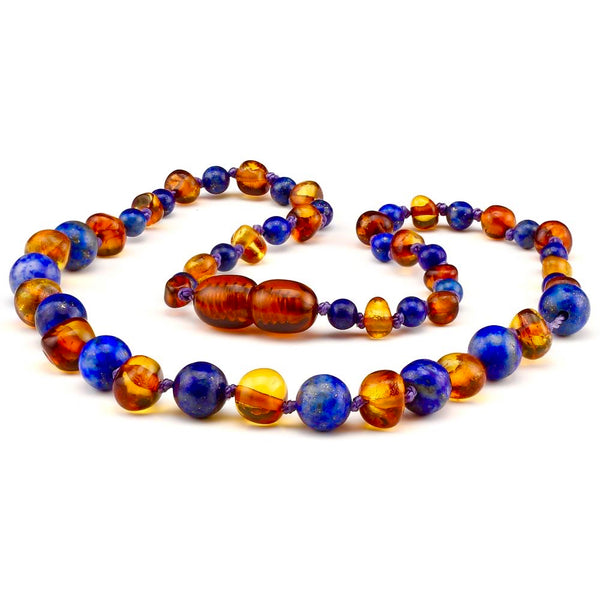 Lapis Lazuli Cognac Amber Polished Necklace for Teens Adults-Baltic Amber Teething Necklace-Unique Baltic Amber