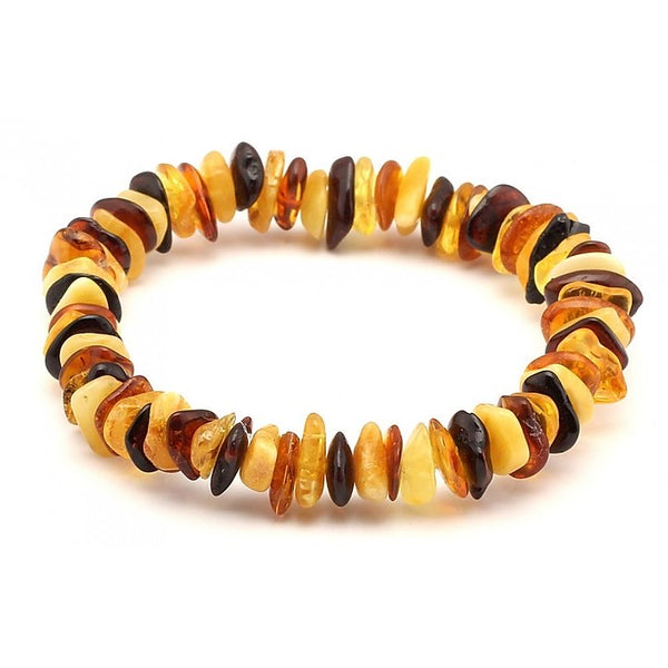 Baltic Amber Unisex Adult Elastic Bracelet Multi  Chip Color Polished