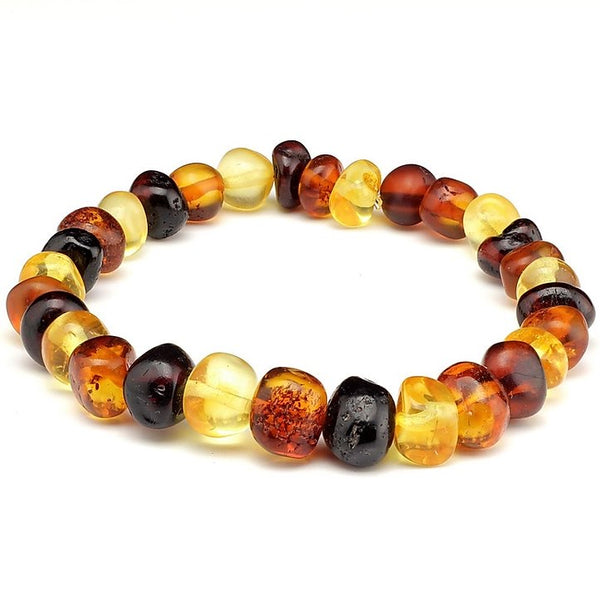 Baltic Amber Unisex Adult Elastic Bracelet Multi Color Polished