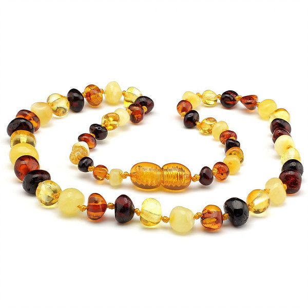 Natural Fast Relief for Teething Baby Raw Multi Baltic Amber Teething Necklace-Baltic Amber Teething Necklace-Unique Baltic Amber