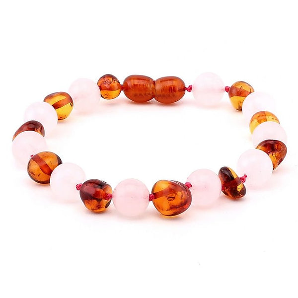 Pink Rose Quartz Polished Cognac Amber Bracelet Teens Adults-Baltic Amber Teething Necklace-Unique Baltic Amber