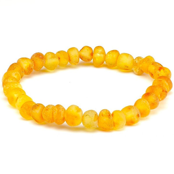 Raw Unpolished Honey Stretch Baltic Amber Bracelet-Baltic Amber Teething Necklace-Unique Baltic Amber