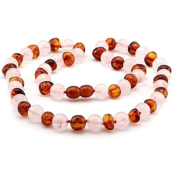Pink Rose Quartz Cognac Polished Amber Necklace-Baltic Amber Teething Necklace-Unique Baltic Amber