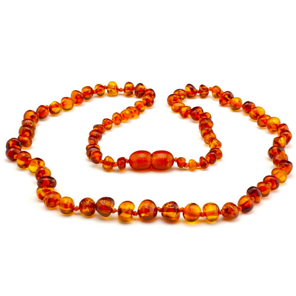 Baltic Amber Cognac Necklace Polished for Adults Teens-Baltic Amber Teething Necklace-Unique Baltic Amber