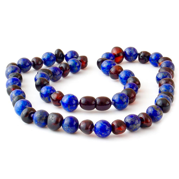 ADHD Arthritis Carpal Tunnel Raw Polished Cherry Lapis Lazuli-Baltic Amber Teething Necklace-Unique Baltic Amber