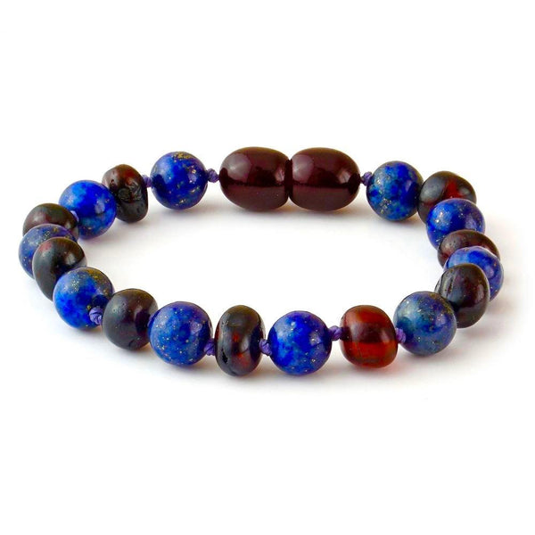 ADHD Polished Cherry Lapis Lazuli Baltic Amber Teething Bracelet for Baby Toddler 5.5 Inch-Baltic Amber Teething Bracelet Anklet-Unique Baltic Amber