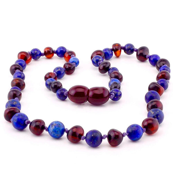 12.5 ADHD Teething Polished Cherry Lapis Lazuli Baltic Amber Necklace Baby Toddler-Baltic Amber Teething Necklace-Unique Baltic Amber