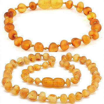 Baltic Amber Teething Necklace unpolished lemon Bracelet set