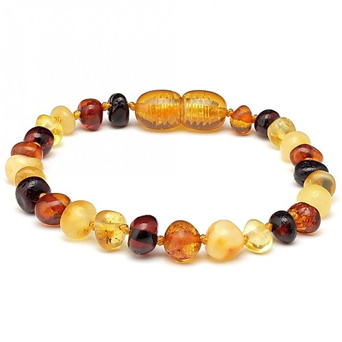 5.5 In Baby Amber Teething Bracelet Screw Clasp-Baltic Amber Teething Bracelet Anklet-Unique Baltic Amber