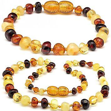 Baltic Amber Teething Necklace Bracelet mix polish set