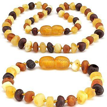 Baltic Amber Teething Necklace Bracelet Raw Unpolished Multi Color - Set-Baltic Amber Teething Necklace-Unique Baltic Amber