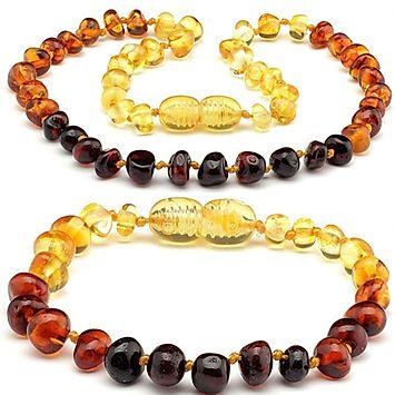 Baltic Amber Teething Necklace Bracelet Polished Rainbow - Set-Baltic Amber Teething Necklace-Unique Baltic Amber