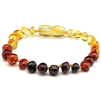 5.5 in Rainbow Baltic Amber Bracelet Anklet Baby Infant Toddler-Baltic Amber Teething Bracelet Anklet-Unique Baltic Amber