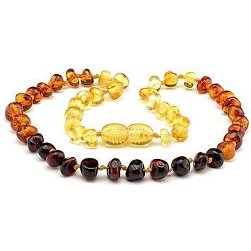 Polished amber teething necklace