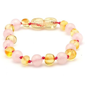 5.5 inch Bracelet Pink Rose Quartz Polished Lemon Baltic Amber Baby Toddler-Baltic Amber Teething Bracelet Anklet-Unique Baltic Amber