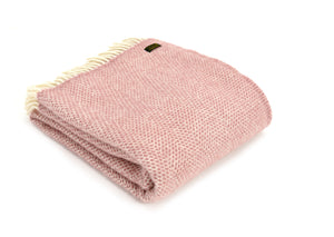 Pure New Wool Blanket - Dusky Pink Beehive