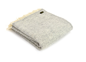 Pure New Wool Blanket - Silver Grey Fishbone
