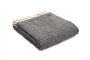 Pure New Wool Blanket - Charcoal/Silver Herrigbone