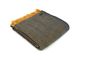 Pure New Wool Blanket - Navy/Mustard Herrigbone