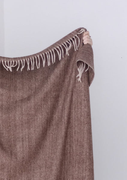 Recycled Wool Blanket in Chestnut Herringbone
