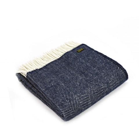 Pure New Wool Blanket - Navy Fishbone