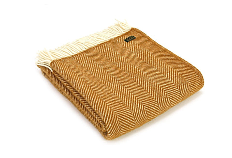 Pure New Wool Blanket - Mustard Fishbone