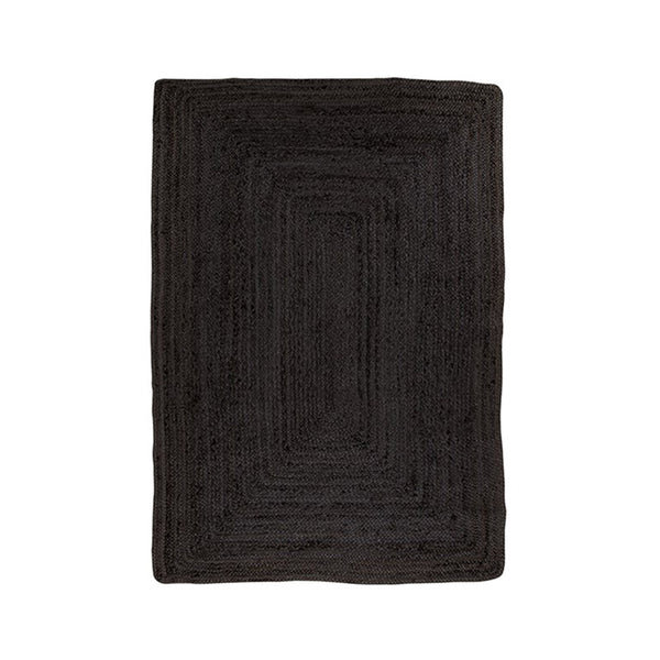 Rectangular Black Jute Rug 90 x 150 cm