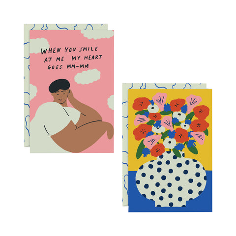 XOXO / Flowers Art Card pair