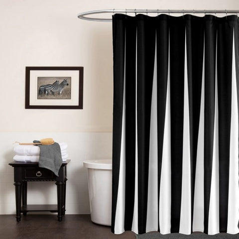 black and white shower curtain striped lines