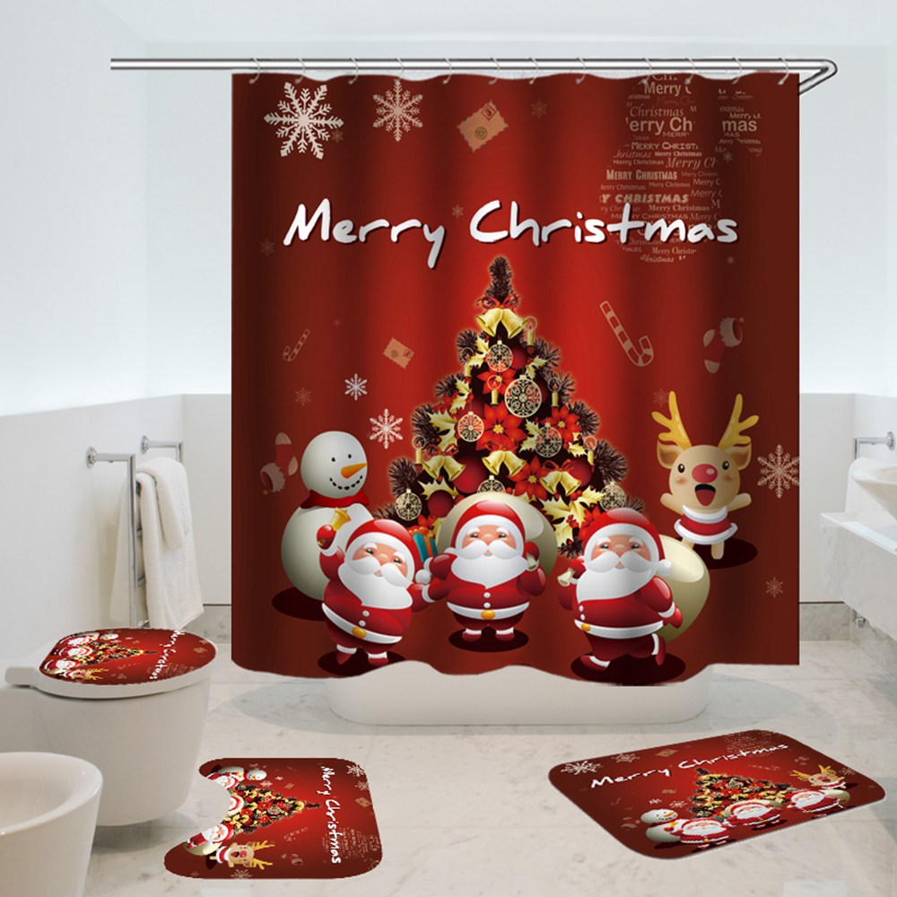 christmas shower curtain santa dwarves