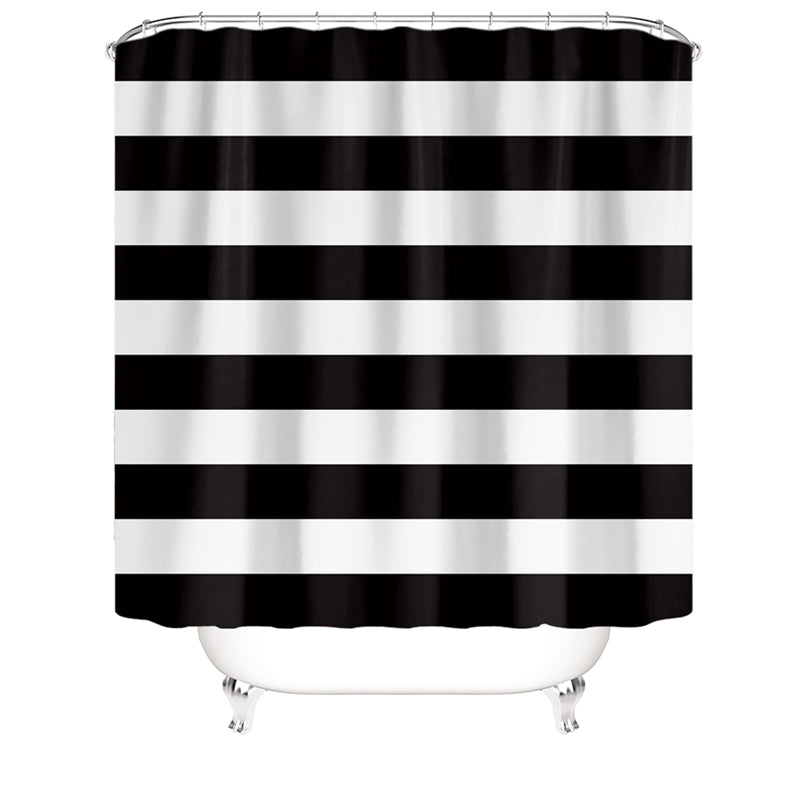 black and white shower curtain striped lines horizontal