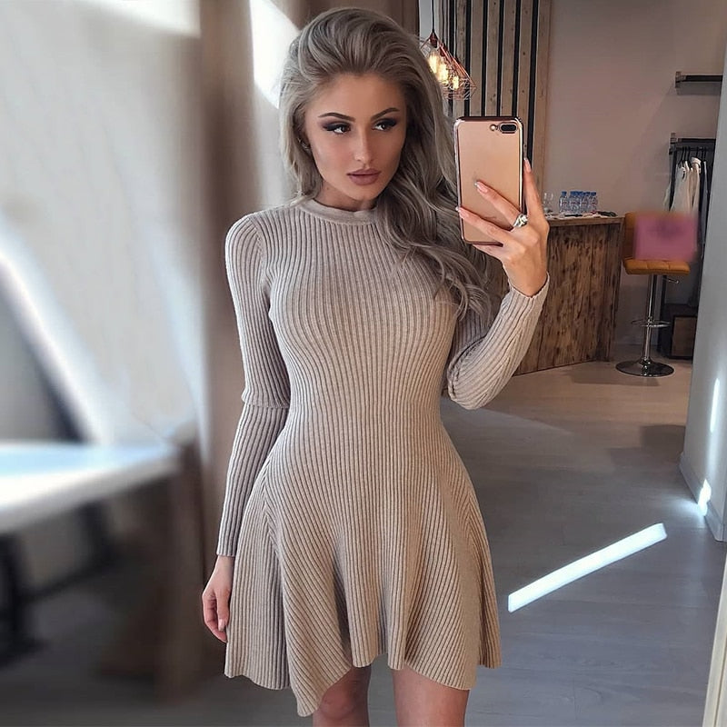 Women Long Sleeve Sweater Dress Women's Irregular Hem Casual Autumn Winter Dress Women O-neck A Line Short Mini Knitted Dresses - ROSAMISS STORE