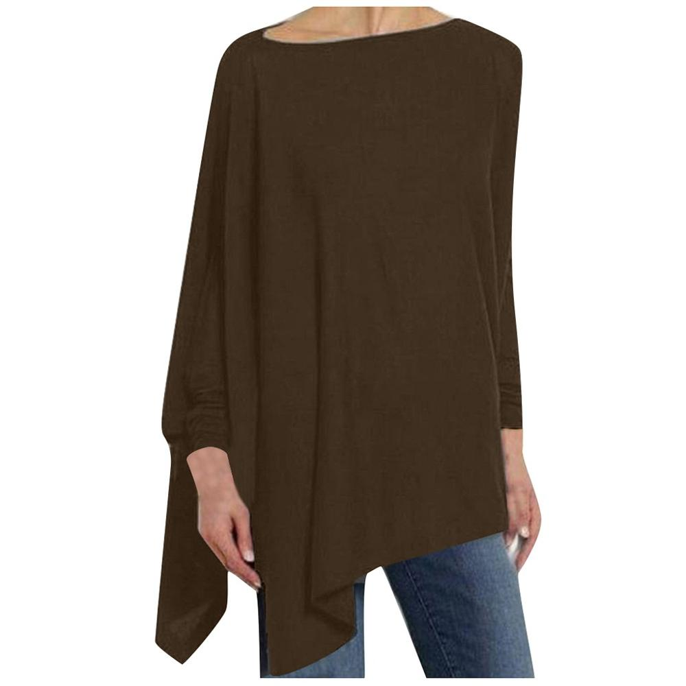 Womens Casual blouse Solid Long Sleeve Irregular Sweatshirt Loose - ROSAMISS STORE