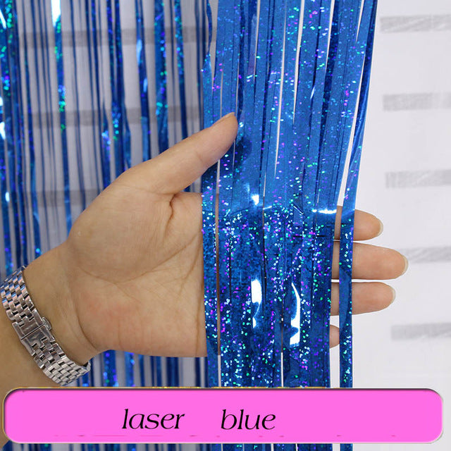 Birthday Party Wedding Decoration Backdrop Curtains Glitter Glossy Fringe Tinsel Foil - ROSAMISS STORE