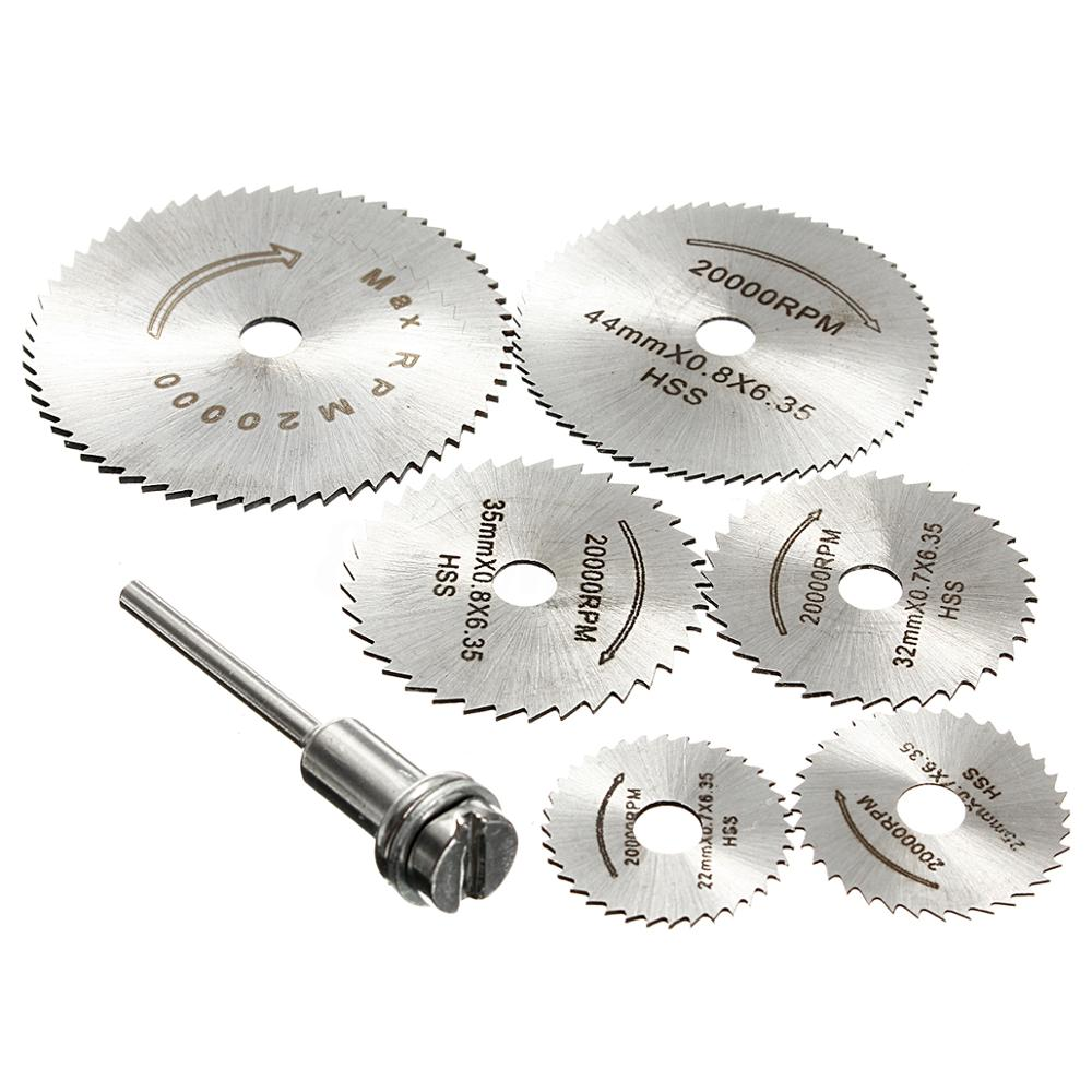 7Pcs Disc Drill Blades and Mandrel